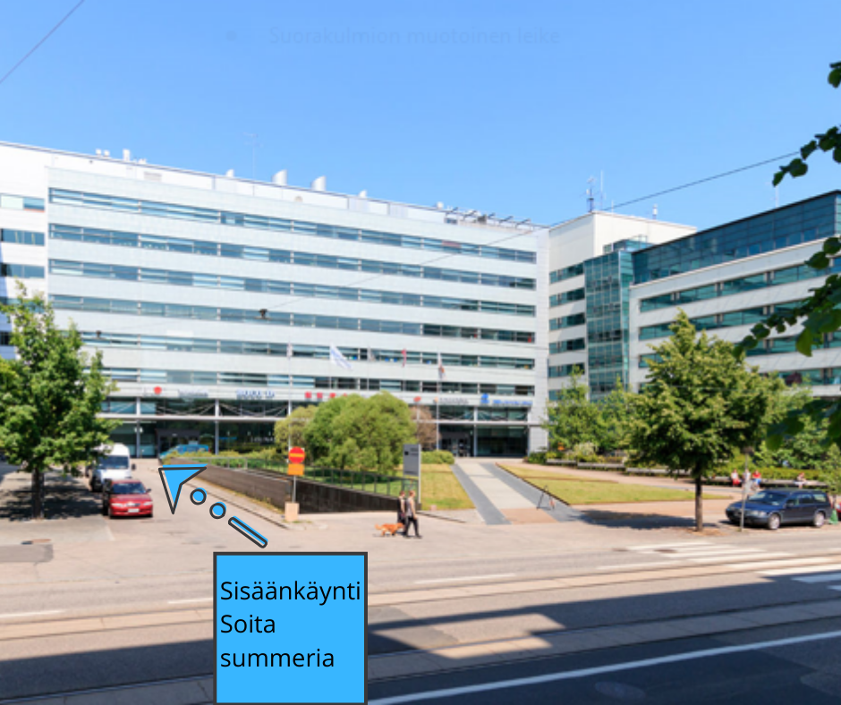 Kuva Helsingin toimiston rakennuksesta ja ohjeistus soittaa summeria