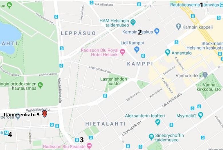 Karttakuva reitistä Helsingin toimistolle