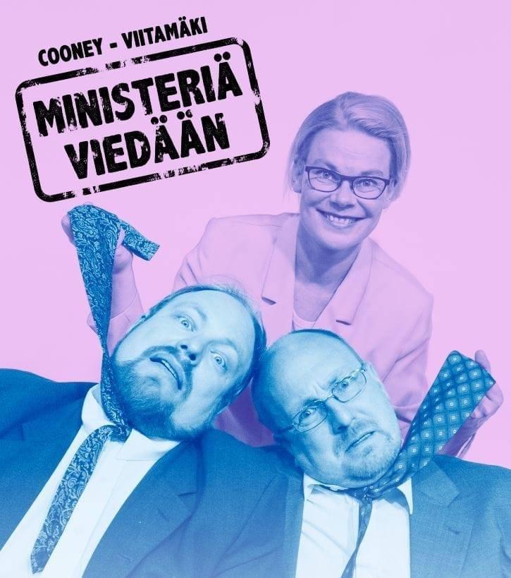 Ministeriä viedään-teatteriesityksen julistekuva