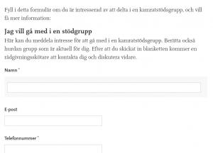 Skärmdump av samtalsgruppernas anmälningsblankett