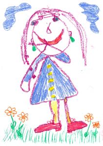 Liituvärillä piirretty tyttö mekko päällä. Kukkia ja sininen taivas.