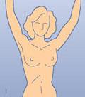 Rintojen omatarkkailun ohjauskuva numero yksi: ylävartalo paljaana, kädet ylhäällä.