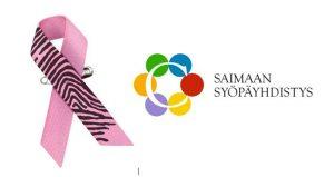 Kuva Roosa nauhasta ja Saimaan Syöpäyhdistyksen logosta.