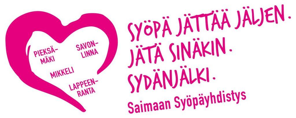 Kampanjalogo. Sydän, jossa lukee Pieksämäki, Mikkeli, Savonlinna, Lappeenranta.