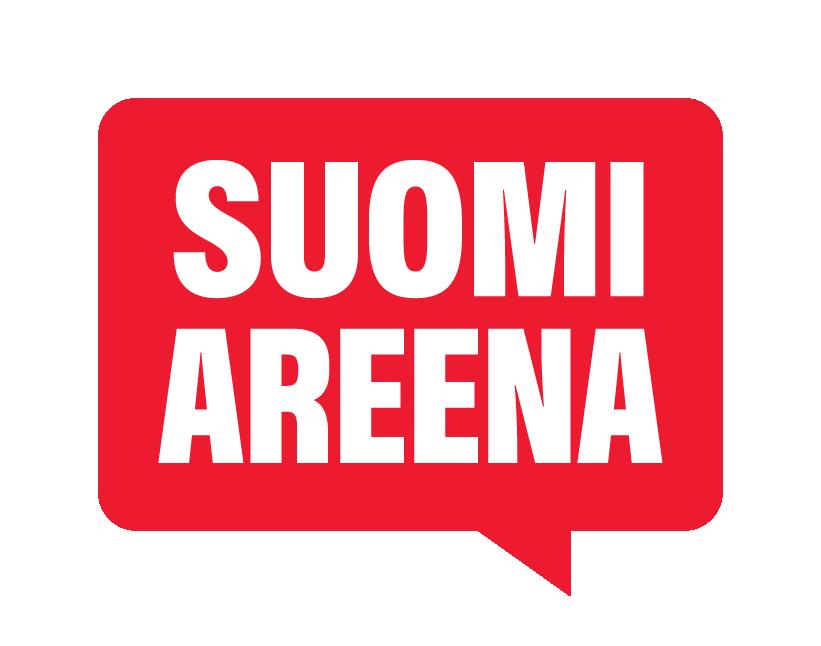 suomiareenan logo valkoinen teksti punaisen puhekuplan sisällä