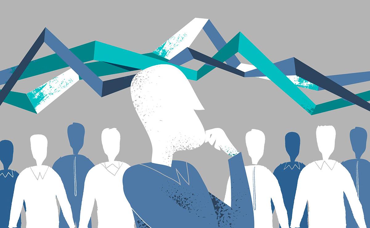 Graafinen kuva, jossa ihmishahmoja ja heidän yllään käppyröitä