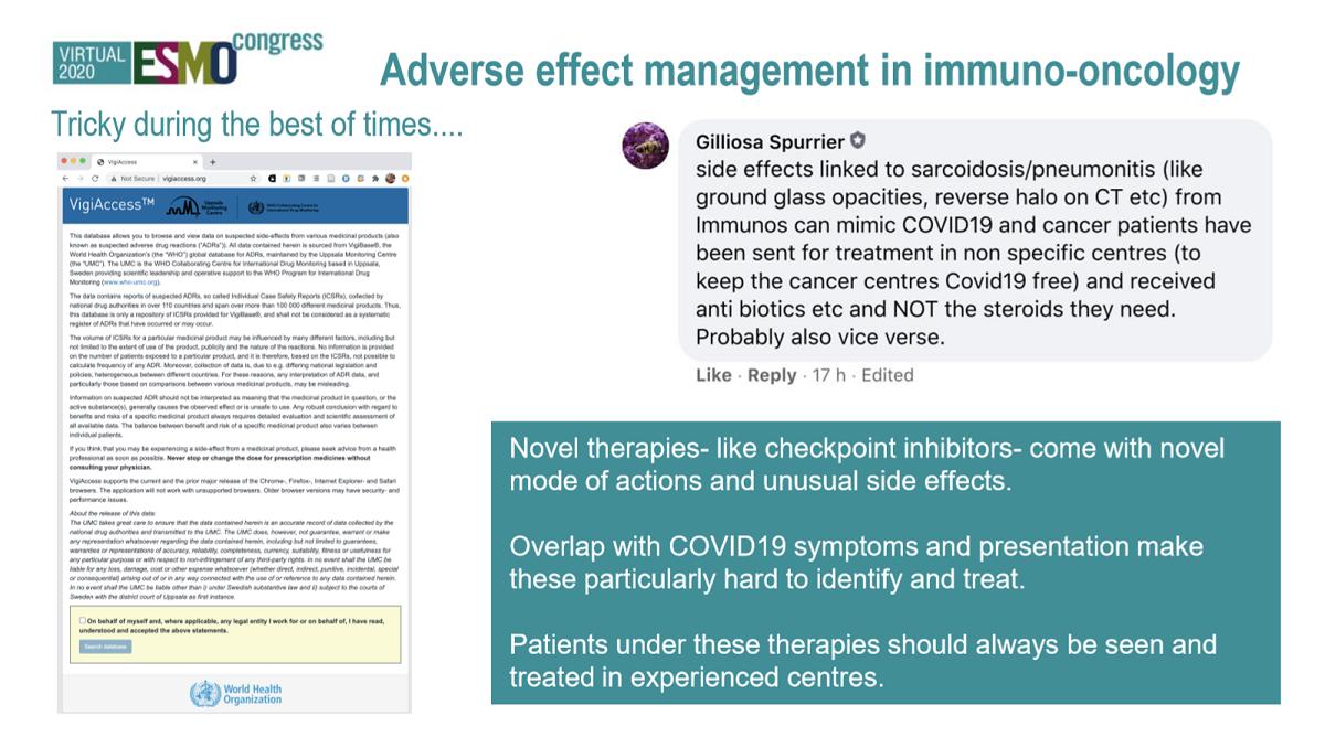 Esimerkkejä immunologisten syöpälääkkeiden lääketurvatoiminnasta pandemian aikana