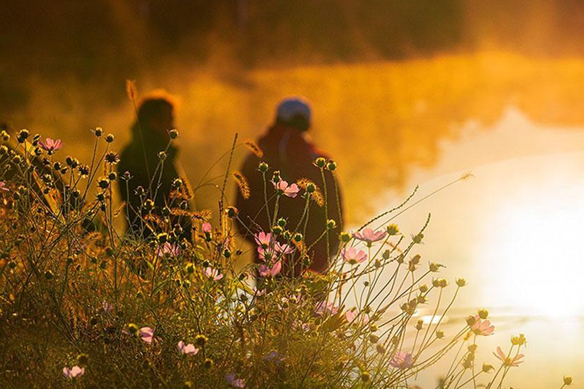 Kaksi hahmoa kukkaniityllä