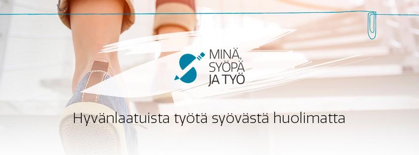 syöpä ja työ -sivuston etusivun kuva ja logo ja slogan-teksti Hyvänlaatuista työtä syövästä huolimatta