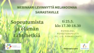 Nurmikkoa ja auringonsäteitä. Tekstinä webinaarin tiedot. Logot: Suomen Syöpäpotilaat ry ja tukija Novartis.
