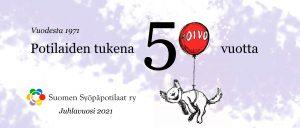 Juhlavuoden banneri, jossa piirretty maskottimme sudenpentu Toivo ja teksti Syöpäpotilaiden tukena 50 vuotta