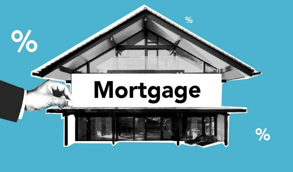mustavalkoinen talo petrolinsinisellä taustalla ja talon edessä sana Mortgage