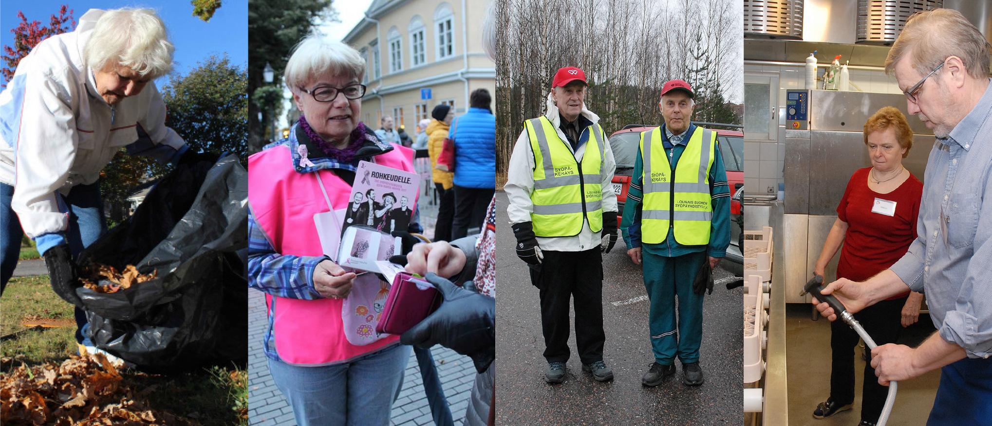 Joukko vapaaehtoisia työskentelee. Yksi heistä kerää haravoimiaan lehtiä, yksi myy Roosa nauhoja, kaksi toimivat liikenteenohjaajina ja kaksi tiskaaavat astioita.