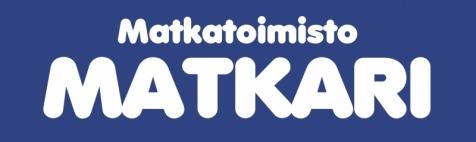 Kuvassa on Matkatoimisto Matkarin logo, joka koostuu sinisestä taustasta ja tekstistä Matkatoimisto Matkari. Avaa kuva isompana.