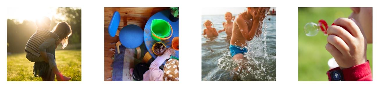 Ensimmäinen kuva vasemmalta: tyttö kantaa poikaa reppuselässään, toinen kuva vasemmalta: lapsi leikkii leikkimökissä, kolmas kuva vasemmalta: lapset ovat uimassa, neljäs kuva vasemmalta: lapsi puhaltaa saippuakuplaa