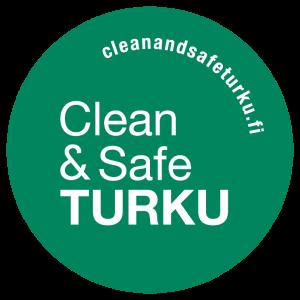 Kuvassa on Clean & Safe Turku -tunnus.