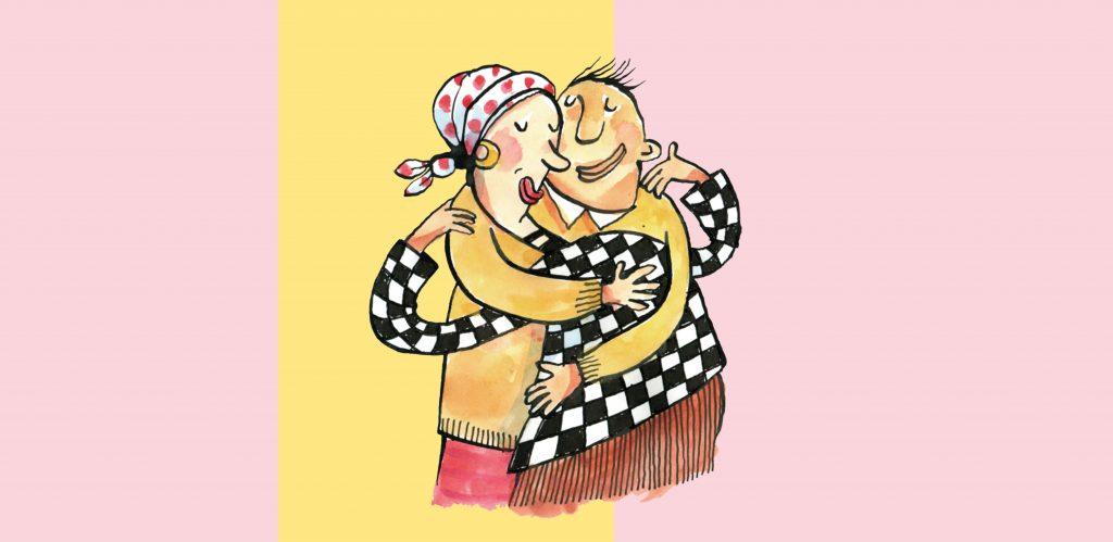 piirroskuva jossa mies ja nainen halaavat ja hymyilevät